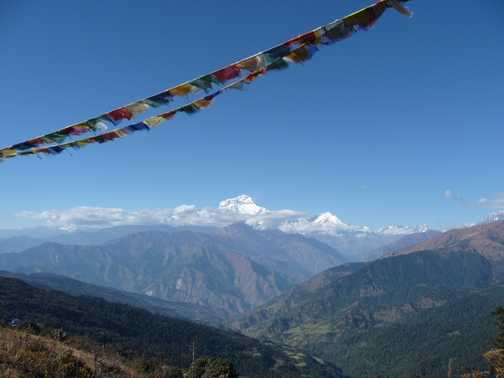 Dhaulagiri and prayer flags