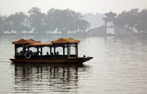 boat on summer palace lake