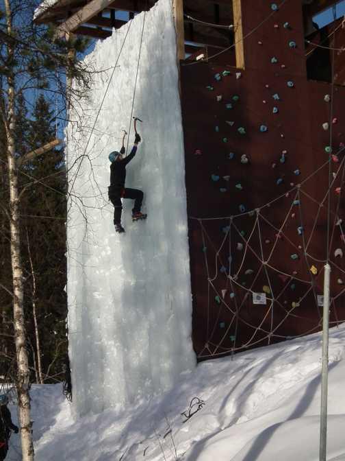 climbing the ice wall