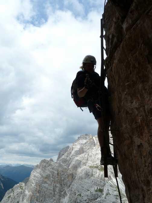 Exposed ladders on via ferrata Delle Scalette