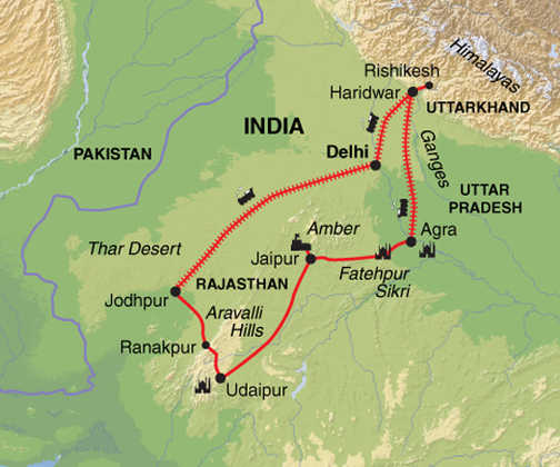 Tailormade: India Explored | Exodus on hotels rishikesh india, map of london, uttaranchal india, map of los angeles, map of new york,