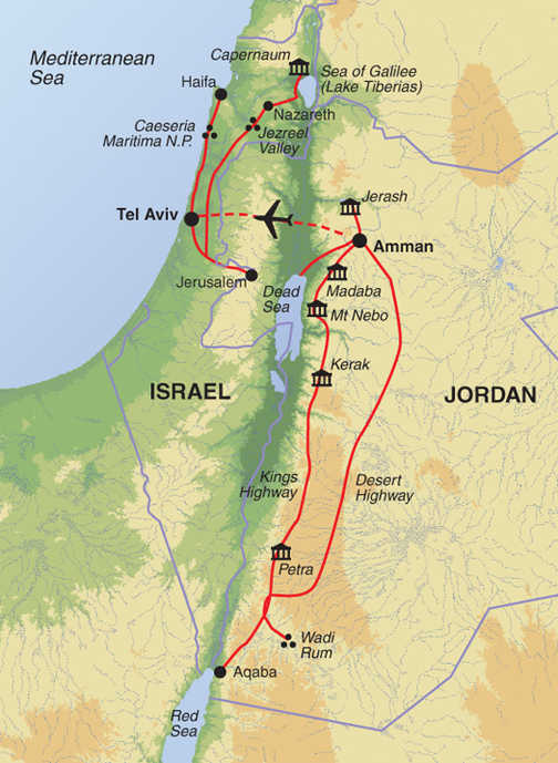 Jordan and Israel (BBI) map