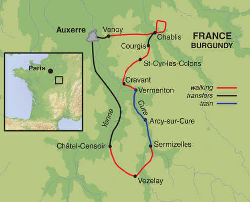 Vezelay France Map.Headwater Chablis Vineyard Self Guided Walk Exodus