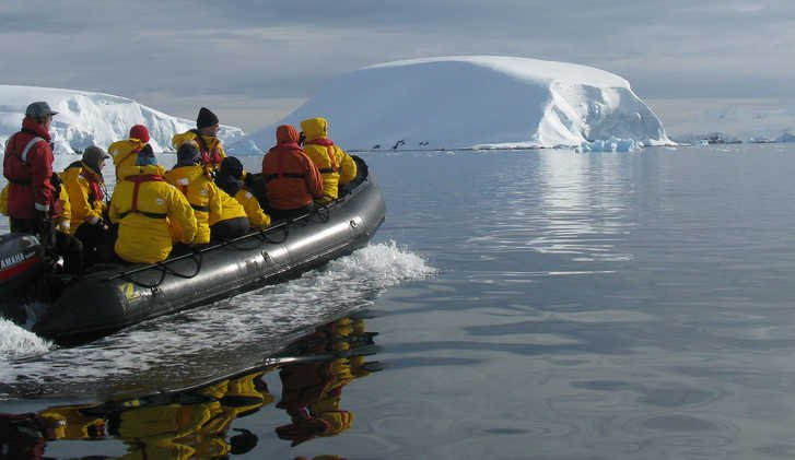 Zodiac approaching Melchior Islands, Antarctic Peninsula