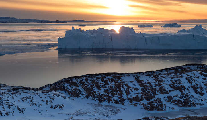 Sunset view over the icefjord in Ilulissat