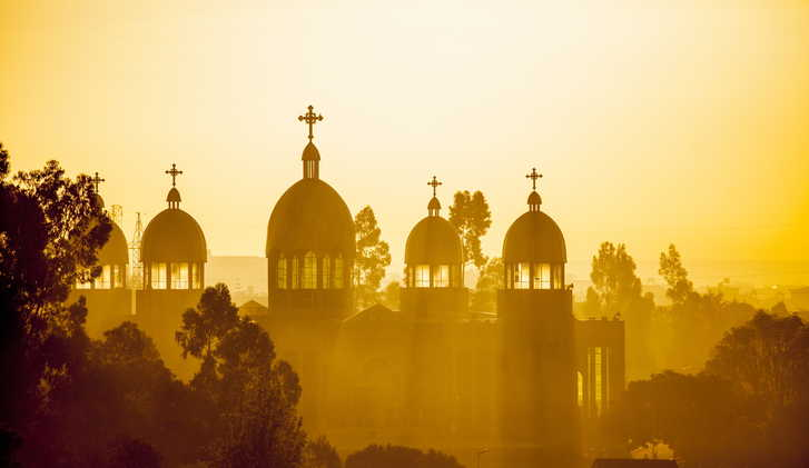 Ethiopian orthodox church at dawn, Addis Ababa