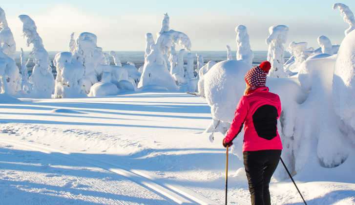 Cross country skiing in Lapland Finland