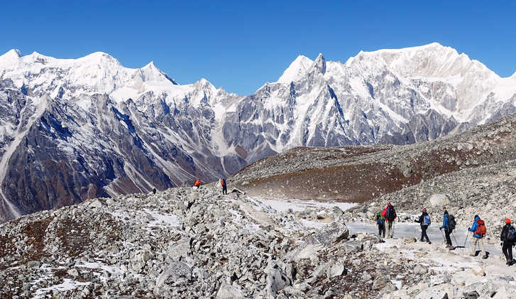 Descending from Larkye La, Nepal
